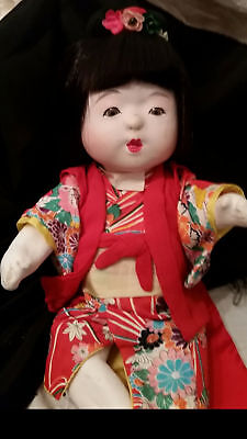 Antique Large Chinese Baby Doll Real Hair Wig Composite Cork Glass Eyes Repair