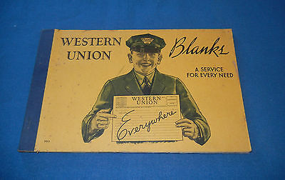 Western Union Blanks Book For Telegrams 1940s  w/ FREE Ship