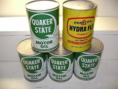 Vintage Lot Of 4 Quaker State Metal Oil Cans - Full/unused-Free Pennzoil Can
