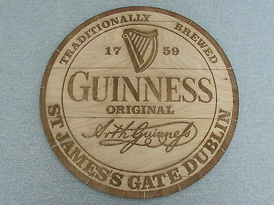 "Guinness Beer 16"" Wood Sign barrel Cask Top style"