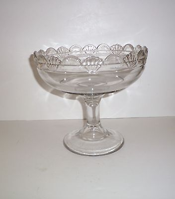Eapg  Glass Scalloped Fan/shell Edge  Glass Compote