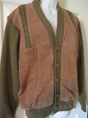 VTG Mens L Rockabilly Sweater Jacket Suede Leather Cable Knit Cardigan Brn / Tan