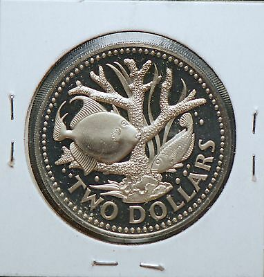 Barbados, 1973 2 Dollar, Staghorn Coral Fish, Proof                         8lgm