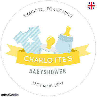 24 Personalised Blue or Pink Baby Shower Stickers - Party Bag Favours
