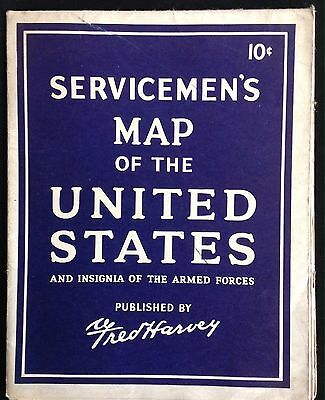 Servicemen's Map Of The United States And Insignias. Published By Fred Harvey. 4
