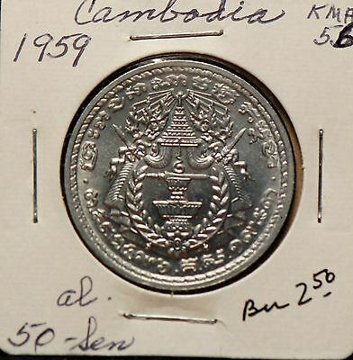 Cambodia, 1959 50 Sen, Uncirculated+,                                       8lgm