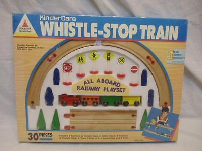 Vintage Kinder Care 30 pc Wood Wooden Brio Train Set w/ Accessories NEW in Box