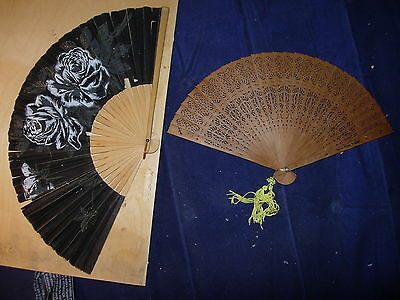 Two   Vintage  Hand  Fans  Wood  Paper  .collectable .    ,