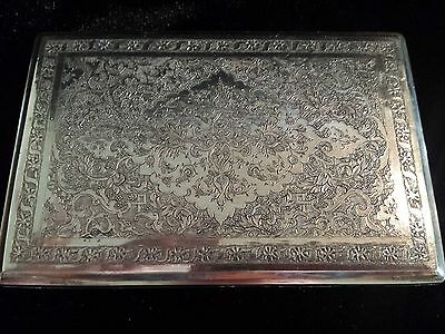 Fabulous Antique Solid Sterling Silver Etched Hinged Case