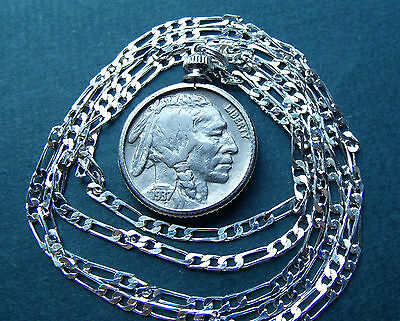 "Classic American 1937 Philly Buffalo Nickel on  28"" 925 Sterling Silver Chain"