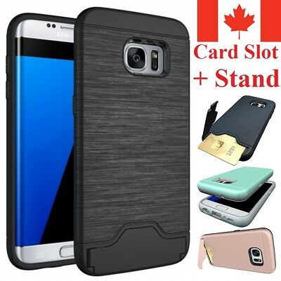 For Samsung Galaxy S7 Hybrid Shockproof Card Slot & Credit Wallet Case Cover
