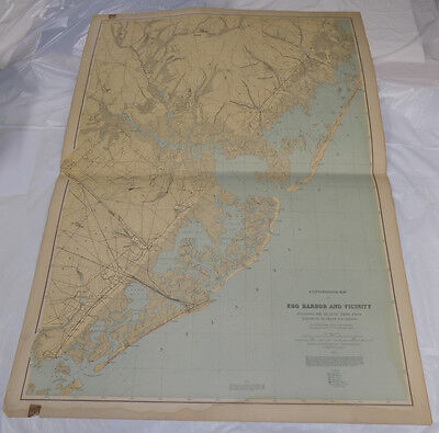 """1888 Topographical Map of New Jersey// EGG HARBOR & VICINITY // 27x36"""" // SCARCE"""
