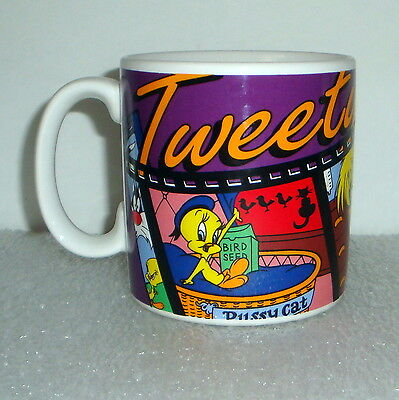 Looney Tunes Monster Tweety Bird Sylvester White Coffee Mug Cup Applause 1995