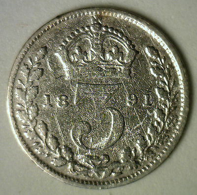1891 Silver 3 Pence Great Britain UK English Coin YG