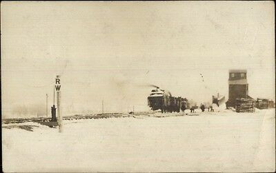 Grain Elevator & RR Train - Sioux City Cancel c1910 Real Photo Postcard