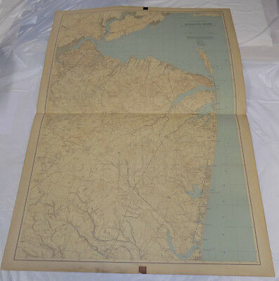"""1888 Topographical Map of New Jersey// MONMOUTH SHORE // 27X36"""" // SCARCE"""