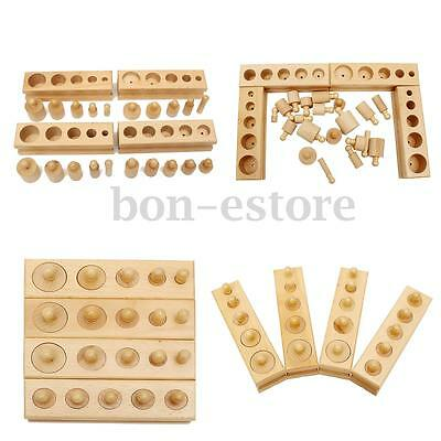 AU Montessori Knobbed Cylinder Blocks Wooden Material Family Educational Toy Set