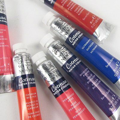 Winsor and Newton Cotman Watercolour 8ml Tubes. Artists Water Colour Paint Tube.