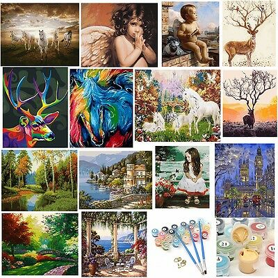 Acrylic Paint By Number Kit Horses Scenery Oil Painting DIY Home Wall Decor New