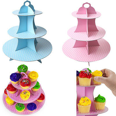 3 Tier Foldable Paper Cupcake Cake Stand Wedding Party Decoration Dessert