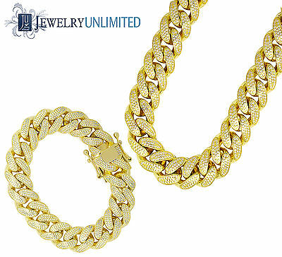 Mens Sterling Silver Yellow Gold Lab Diamond Miami Cuban Chain Necklace Bracelet