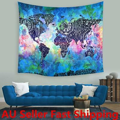 World Map Indian Tapestry Wall Hanging Mandala Throw Hippie Bedspread Towel New