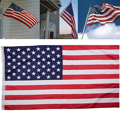 EMBROIDERED Nylon American USA US Flag Sewn Stripes Stars Brass Grommets 3'x5'