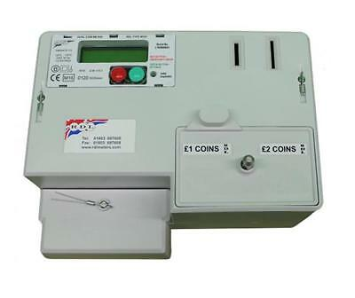 Coin Operated Landlords Electricity Check Meter Single Phase £1 £2 Coins 100 Amp