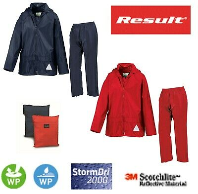 RESULT KIDS  Childrens Boys Girls Waterproof Jacket and Trousers Rain Suit + Bag