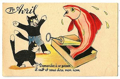 Chat Noir. Chaton .kitten. Cat Black. Poisson .fish. 1Er Avril. 1Er Apri.l