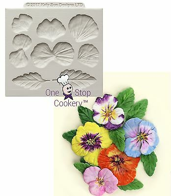 Katy Sue PANSIES Silicone Sugarcraft Cake Craft Mould Pansy
