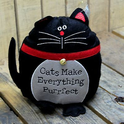 Black Cat Doorstop Felt Fabric ~ Cats Make Everything Purrfect