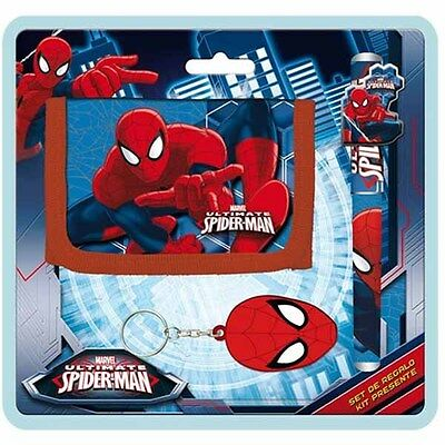 Portafoglio Con Penna e Portachiavi Marvel The Ultimate Spiderman Kit Set Regalo