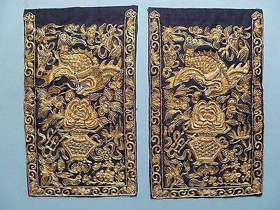 Antique CHINESE RANK BADGES 18th/19th Century pair gold thread dragon fish