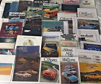 Large Lot (36) Vintage GM Brochures 1969, 1970s, 1980s Pontiac Buick Chevy Olds