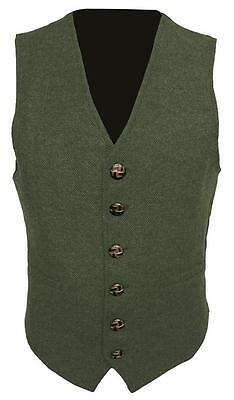 Khaki Dark Green Mens Wool Tweed Slim Fitted Vest Waistcoat S M L XL 2XL 3XL