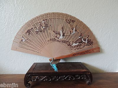 Vintage Chinese Wood Fan with Hand-painted Birds