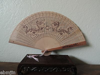 Vintage Chinese Wood Fan with Hand-painted Dragon