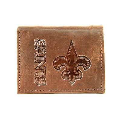 New Orleans Saints Dark Brown Leather Tri-fold Wallet