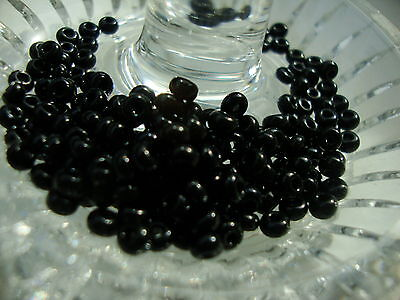 6/0 czech loose seed beads opaque chalk black 40 grams