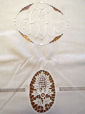 Antique French Sheet White Embroidered Needle Lace Monogram E L Metis Bedsheet