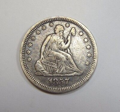 1857 Liberty Seated  Quarter VERY FINE+ Silver 25c