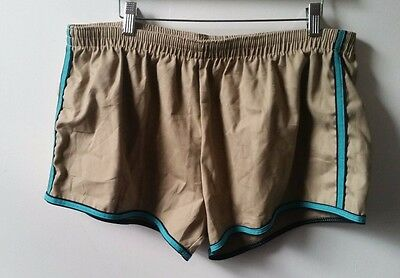 SEA MARK Vintage 70's CottoN Polyester  Beige Teal Trunks Shorts - Size XL