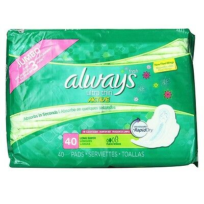 Always Ultra Thin Pads with Flexi Wings Long Super, Fresh Scent 40 Each