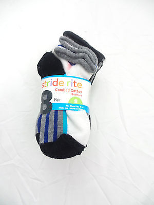 Stride Rite Boy's Combed Cotton Quarters Sport Flat Knit Small NWT