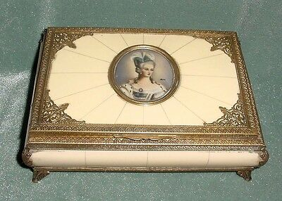 ANTQ BRASS Celluloid Painting Miniature Marie Antoinette Jewelry Box