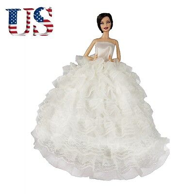 US Handmade Wedding dress Party Eveing Ball Gown Clothes Outfit For Barbie Dolls