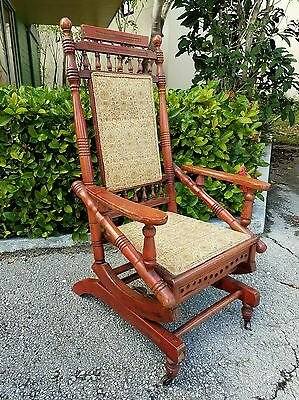 Antique Authentic  Wood Eastlake Victorian Platform Rocking Chair All Original