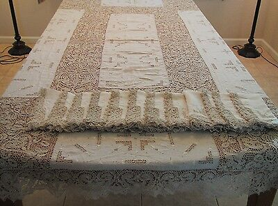 Antique Vintage Tablecloth Linen Lace Figural Birds Hearts 12 Napkins Needlelace
