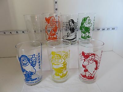 Vintage Lot Of 7 Snow White Glasses From The 40's No Dopey